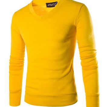 Casual Mens V-Neck Long Sleeve T-Shirt
