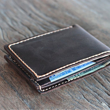 Mens Leather Bifold Wallet - Deep BROWN w highlights - Signature Hand-Stitching by JooJoobs [002]