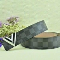 Cheap Louis Vuitton Woman Men Fashion Smooth Buckle Belt Leather Belt for sale q_2291738334_138