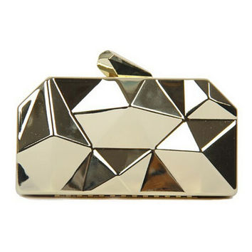Gold Geometrical Metallic Box Clutch Bag