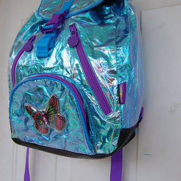 90s Cyberspace Aqua Blue Alien Holographic Iridescent Oil Slick Rainbow Clear Plastic Cyber Butterfly Lisa Frank Backpack