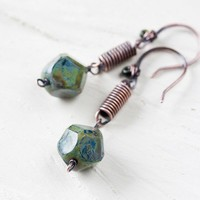 Handmade Moss Green Dangle Earrings