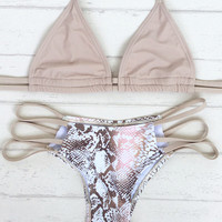 Nude Triangle Halter Top X Snake Print Strappy Side Bottom Bikini Set