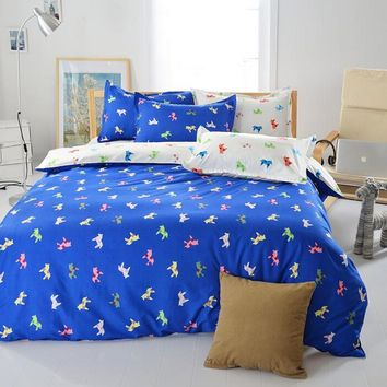 Polyester Bedding Blue Animal Horse Printed Bed Set Home Textile Quilt Duvet Cover Pillowcases Bed Sheet Single Double King Size