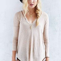 Silence + Noise Spacedye Split-Neck Top-