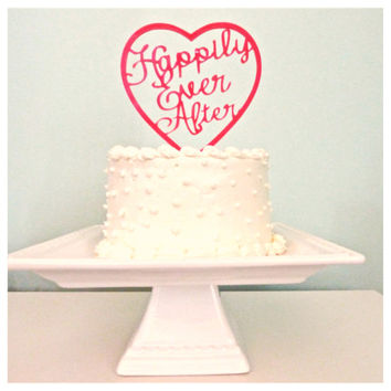 Happily Ever After Wedding Cake Topper - Tons of Colors to Choose From - Princess Cake Topper - Bride and Groom