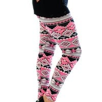 Neon Aztec Leggings Pink 12-14