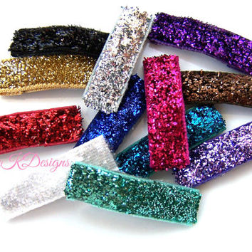 NO SHED metallic Glitter Ribbon Simple Hair Clips Baby K Designs Snap Clips. 2 5 10 or 15 tty Bitty NO Bow nearly bald babies #babykdesigns