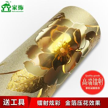 waterproof wallpapers  flower fashion  gold foil Self Adhesive Vinyl Wallpaper Wall Paper Rolls for Kitchen Furniture Bathroom