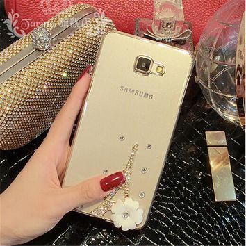 3D Eiffel Tower flower bling Mobile phone Shell Transparent Back Cover Skin Hard Case For Samsung Galaxy J1 Mini (2016) J105 4.0