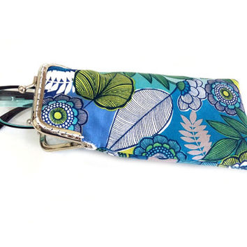 Eyeglasses Case - Reading glasses Case - Blue Green and Gray cotton fabric - Kiss Lock Silver Frame