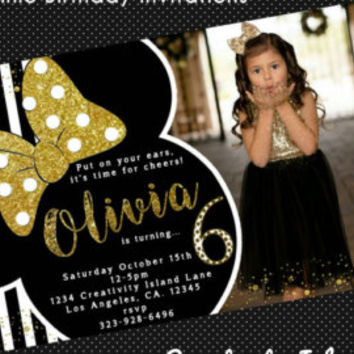Black and gold Minnie Birthday invitations with picture. Black, gold, white, invites, glitter, polkadots, sparkly, photo, picture paper