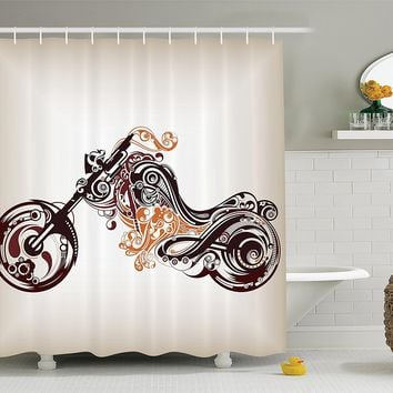 Motorcycle Chopper Shower Curtain