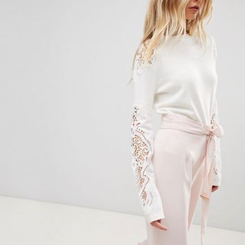 Ted Baker Shelsin Lace Detail Sweater at asos.com
