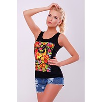 "Women's tank top ""Petrykivka"" black"