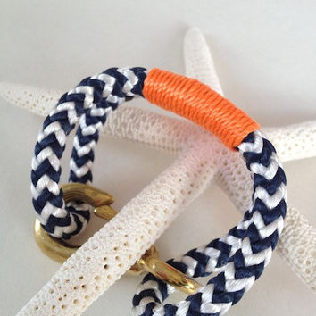Navy & White Nautical Rope Bracelet with Orange Wrap and a Bronze Clasp