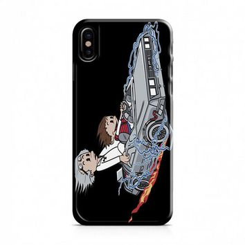 Calvin And Hobbes (back to the future) iPhone X Case