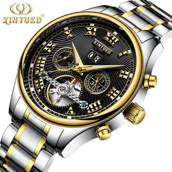 KINYUED Skeleton Automatic Flying Tourbillon Steel Strap Men's Business Mechanical Watch Self Winding Horloges with Gifts Box
