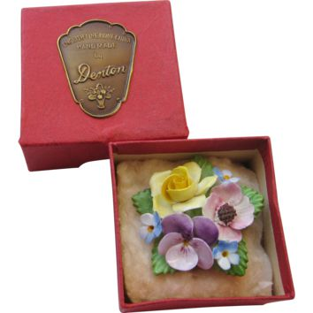 Vintage Denton Bone China Flower Brooch Original Box Porcelain 3 Dimensional