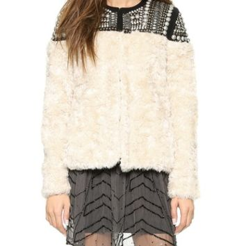 Free People Faux Fur Embellished Jacket