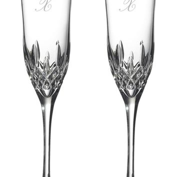 Waterford Lismore Diamond Set of 2 Monogram Lead Crystal Champagne Flutes | Nordstrom