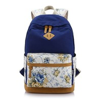 Floral Canvas Backpack School Bag Laptop Bag Printing Travel Mochila