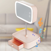 bluetooth speaker led table lamp multifunctional make up mirror rechargeable table bed lamp cosmetic mirror creative gift