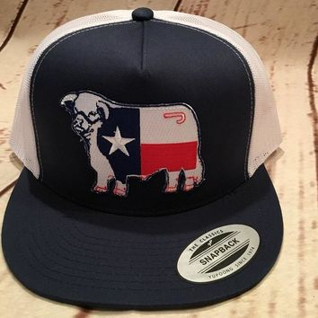 Lazy J Navy and White Texas Flag Hereford Patch Cap  Mesh Trucker