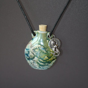 Aromatherapy necklace, japanese wave design with mermaid and 'live, love, laugh' & karma charm