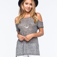 Full Tilt Cold Shoulder Hachi Womens Top Charcoal  In Sizes