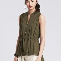 Banana Republic Womens Drawstring Sleeveless Top