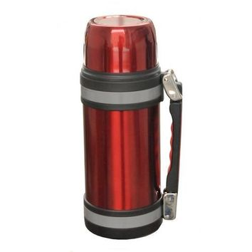 Brentwood 1.2L Vacuum S/S Bottle With Handle Red
