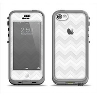 The Faded White Zigzag Chevron Pattern Apple iPhone 5c LifeProof Nuud Case Skin Set