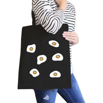 Fried Egg Pattern Black Canvas Bag Gift Idea For BFF Tote Bags