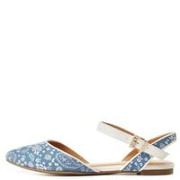 Lt Blue City Classified Printed D'Orsay Flats
