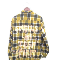 Nirvana Plaid Flannel Shirt in Yellow