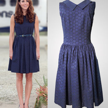 Navy blue sleeveless dress with peter pan collar and broderie Anglaise inspired by Princess Kate Middleton