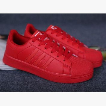 DCCKBWS Adidas' Fashion Shell-toe Flats Sneakers Sport Shoes Pure color cute Red