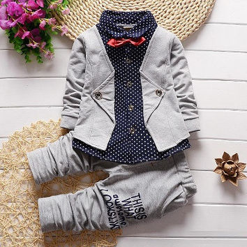 Baby Boys Grey  Long Sleeve Gentleman Suit