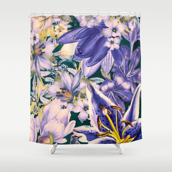 flowers blue art #flowers #flora Shower Curtain by jbjart