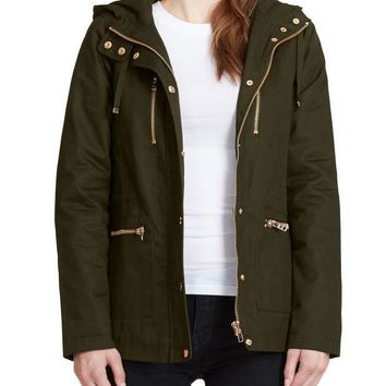 Womens Fully Quilted Lined Anorak Hoodie Jacket with Pockets