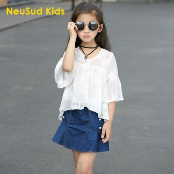 Baby Girls White Chiffon Shirt Kids Toodler