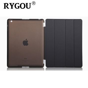 For Apple ipad 2 3 4 PU Leather Case Magnetic Front Smart Cover+Crystal Clear/Matte Solid Hard Back Case Shell for iPad 2 Case