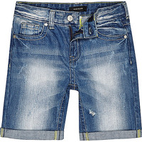 River Island Boys blue mid wash rip denim shorts