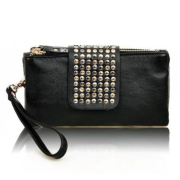 Women Rivet Zipper Wallet Holder Card Coin Clutch Purse Wristlet Evening Bag 1QD2 4OPU
