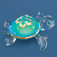 "Turtle Max Reptile Gifts :: Collectibles/Figurines :: Glass, Crystal, and Waterglobes :: ""Aloha"" Glass Sea Turtle"