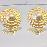 Coiled Robe Button Earrings Vintage Costume Jewelry Nautical Fashion Accessories For Her