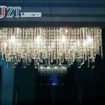 Z 70/80/90/100cm New Modern Luxury K9 Crystal Chandeliers Rectangle Pendant Lamp Ceiling Lamp LED Fixture Lighting