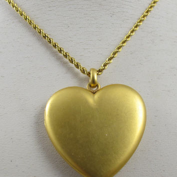 Victorian Heart Locket Choker Necklace Vintage 1900's WS&B Gold 13 Inch Chain
