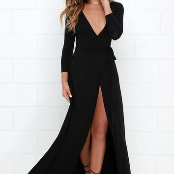 Fell Hard Black Wrap Dress